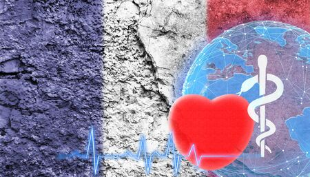 World Health Concept. The flag of France is shown on the cracked wall of the building.