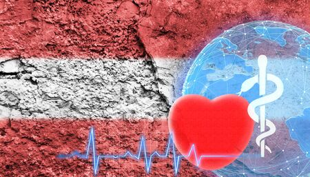 World Health Concept. The flag of Austria is shown on the cracked wall of the building.