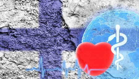 World Health Concept. The flag of Finland is shown on the cracked wall of the building.