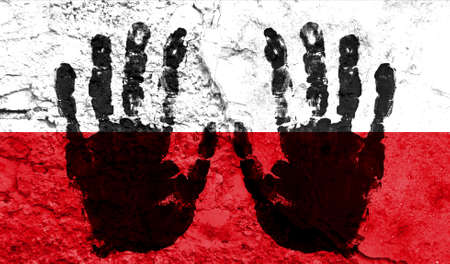 Handprints on the background of the flag of Poland. Freedom of choice, corruption, and detention concept