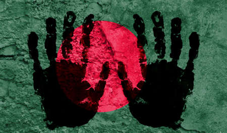 Handprints on the background of the flag of Bangladesh. Freedom of choice, corruption, and detention concept