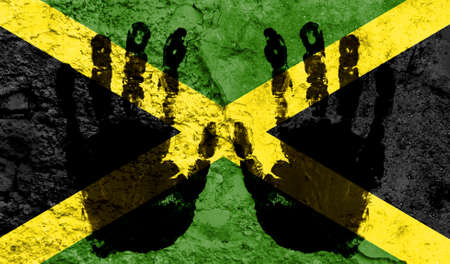 Handprints on the background of the flag of Jamaica. Freedom of choice, corruption, and detention concept