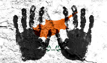 Handprints on the background of the flag of Cyprus. Freedom of choice, corruption, and detention concept