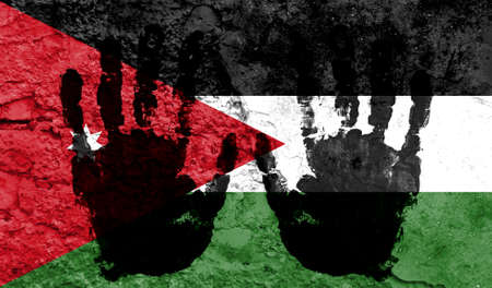 Handprints on the background of the flag of Jordan. Freedom of choice, corruption, and detention concept