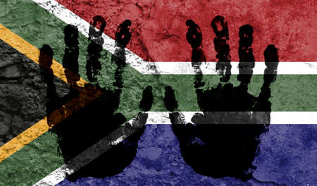 Handprints on the background of the flag of South Africa. Freedom of choice, corruption, and detention concept
