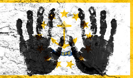 Handprints on the background of the flag of State of Rhode Island and Providence Plantations. Freedom of choice, corruption, and detention concept