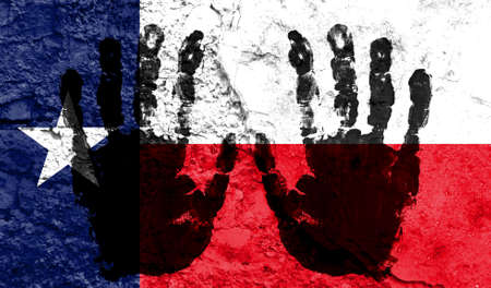Handprints on the background of the flag of State of Texas. Freedom of choice, corruption, and detention concept