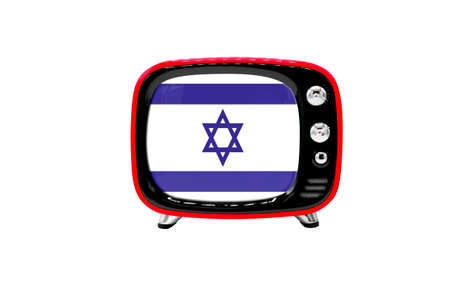 The retro old TV is isolated against a white background with the flag of Israel Stock Photo