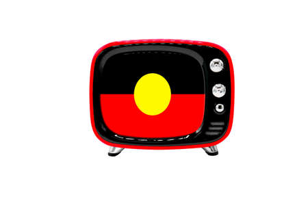 The retro old TV is isolated against a white background with the flag of Australian Aboriginal
