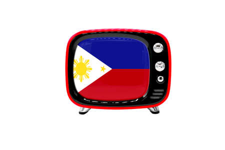 The retro old TV is isolated against a white background with the flag of Philippines 版權商用圖片
