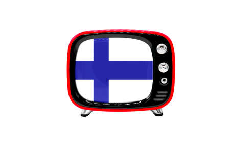 The retro old TV is isolated against a white background with the flag of Finland