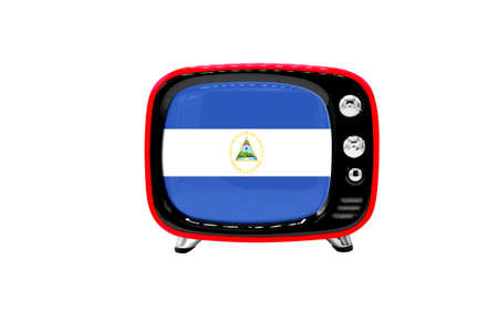 The retro old TV is isolated against a white background with the flag of Nicaragua
