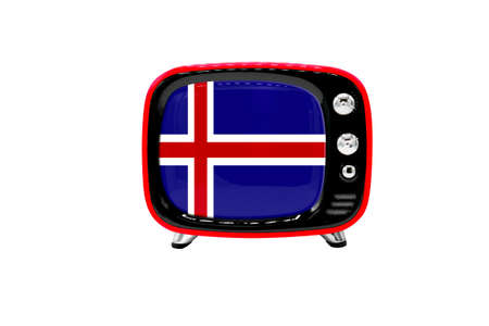 The retro old TV is isolated against a white background with the flag of Iceland
