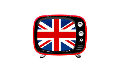 The retro old TV is isolated against a white background with the flag of United Kingdom Stock Photo
