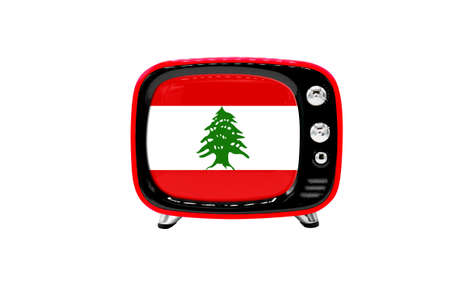 The retro old TV is isolated against a white background with the flag of Lebanon