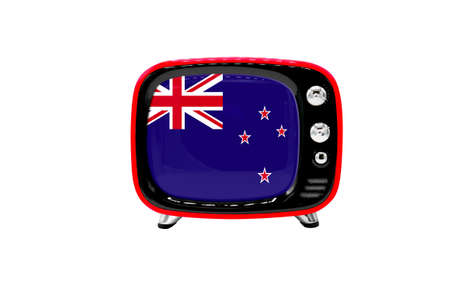 The retro old TV is isolated against a white background with the flag of New Zealand 版權商用圖片