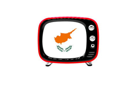 The retro old TV is isolated against a white background with the flag of Cyprus