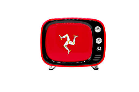 The retro old TV is isolated against a white background with the flag of Isle Of Man