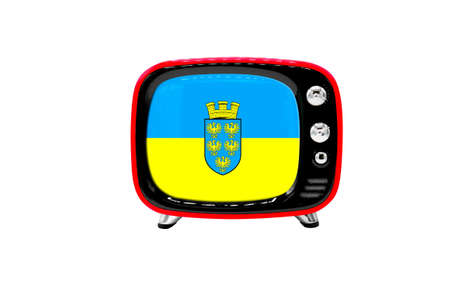 The retro old TV is isolated against a white background with the flag of Lower Austria