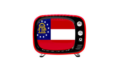 The retro old TV is isolated against a white background with the flag of State of Georgia