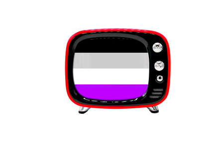 The retro old TV is isolated against a white background with the flag of asexual Stock Photo