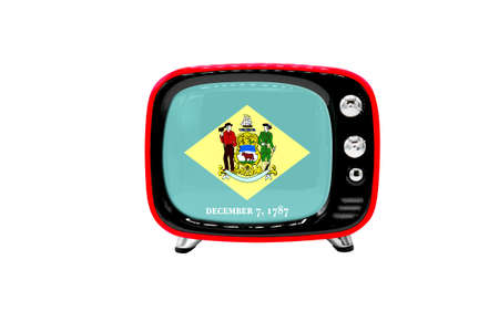 The retro old TV is isolated against a white background with the flag of State of Delaware