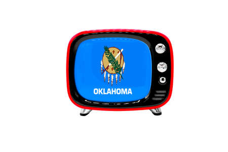 The retro old TV is isolated against a white background with the flag of State of Oklahoma
