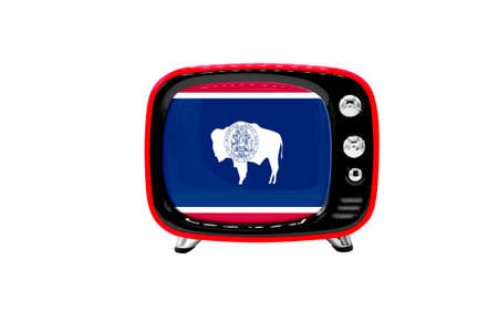The retro old TV is isolated against a white background with the flag of State of Wyoming