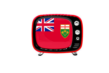 The retro old TV is isolated against a white background with the flag of Ontario