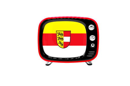 The retro old TV is isolated against a white background with the flag of Carinthia Stock Photo