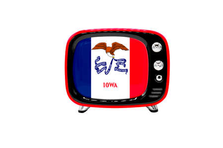 The retro old TV is isolated against a white background with the flag of State of Iowa