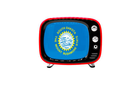 The retro old TV is isolated against a white background with the flag of State of South Dakota