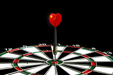 The flag of China is featured on the dart board game, the concept of achieving goals.
