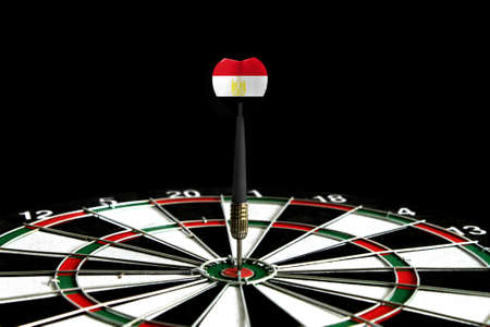 The flag of Egypt is featured on the dart board game, the concept of achieving goals.