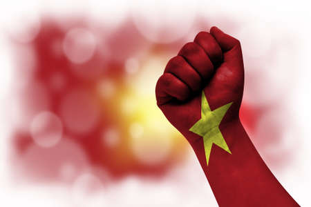 Flag of Vietnam painted on male fist, strength, power, concept of conflict. On a blurred background.