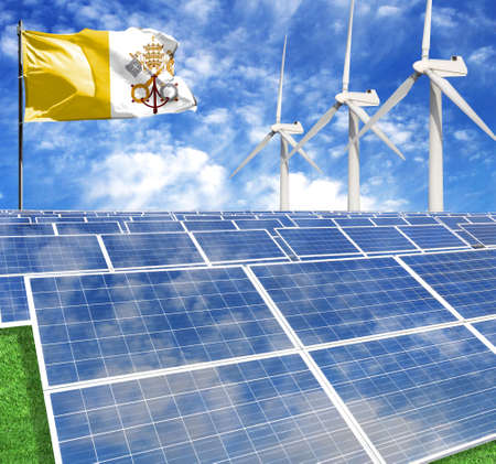 Solar panels on the background of a flagpole with the flag of Vatican city Holy see and Wind Turbine