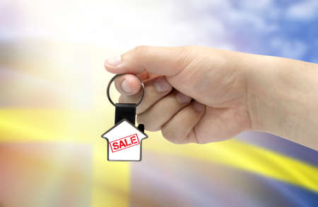 A man's hand holds a keychain in the form of a house with the inscription Sale on the background of the flag of Sweden. Property and real estate sale concept.
