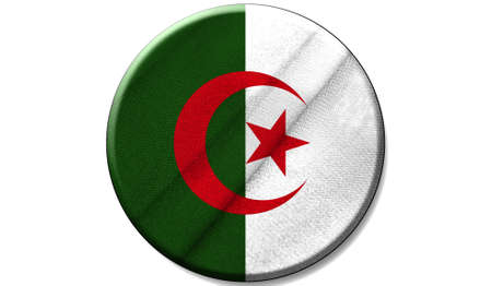 Flag of Algeria on a fabric texture in a circle, the image in the form of an icon is isolated on a white background.