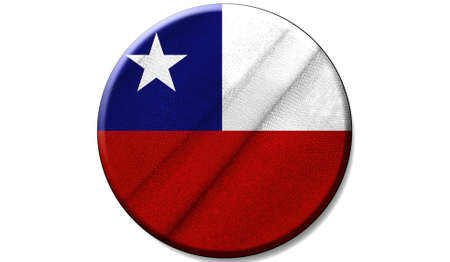 Flag of Chile on a fabric texture in a circle, the image in the form of an icon is isolated on a white background.