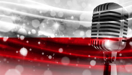 Microphone on a background of a blurry flag Poland close-up, a design concept for your layout with a good place for text and images.