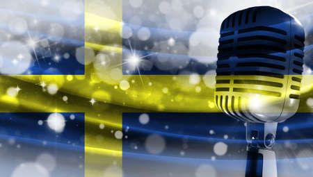 Microphone on a background of a blurry flag Sweden close-up, a design concept for your layout with a good place for text and images.