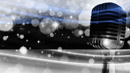 Microphone on a background of a blurry flag Estonia close-up, a design concept for your layout with a good place for text and images.