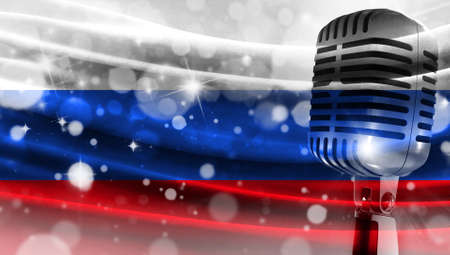 Microphone on a background of a blurry flag Russia close-up, a design concept for your layout with a good place for text and images.