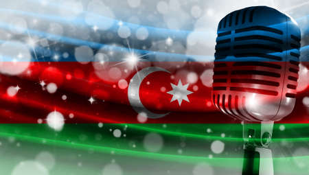 Microphone on a background of a blurry flag Azerbaijan close-up, a design concept for your layout with a good place for text and images.