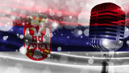 Microphone on a background of a blurry flag Serbia close-up, a design concept for your layout with a good place for text and images.