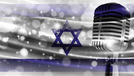 Microphone on a background of a blurry flag Israel close-up, a design concept for your layout with a good place for text and images.