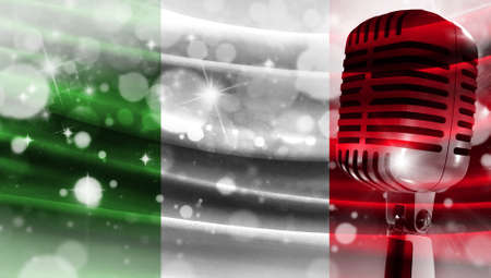 Microphone on a background of a blurry flag Italy close-up, a design concept for your layout with a good place for text and images.