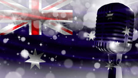 Microphone on a background of a blurry flag Australia close-up, a design concept for your layout with a good place for text and images.