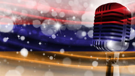Microphone on a background of a blurry flag Armenia close-up, a design concept for your layout with a good place for text and images.