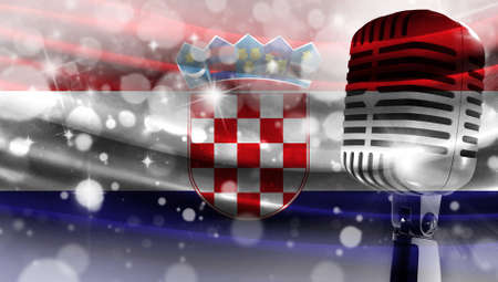 Microphone on a background of a blurry flag Croatia close-up, a design concept for your layout with a good place for text and images.